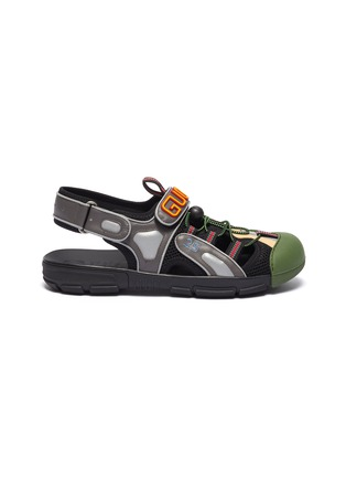 Main View - Click To Enlarge - GUCCI - Logo patch leather trim mesh sneaker sandals