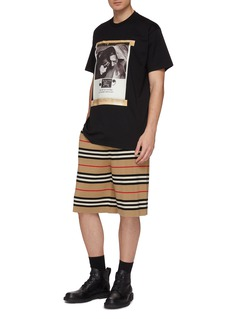 Burberry Icon stripe Merino wool knit drawstring shorts