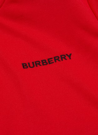 - BURBERRY - Logo embroidered stripe sleeve track jacket