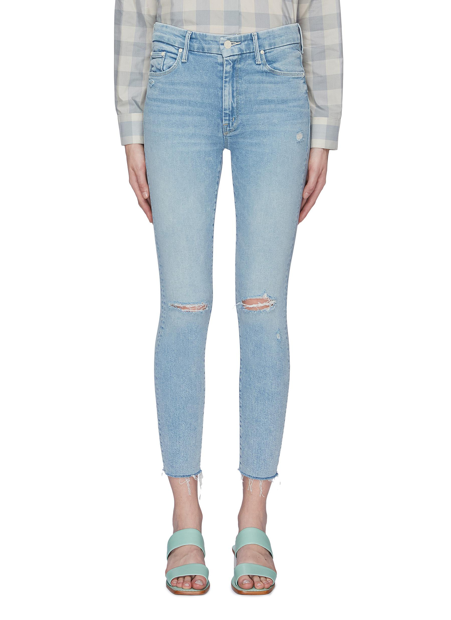 The High Waisted Looker Ankle Fray palm tree print jeans by Mother