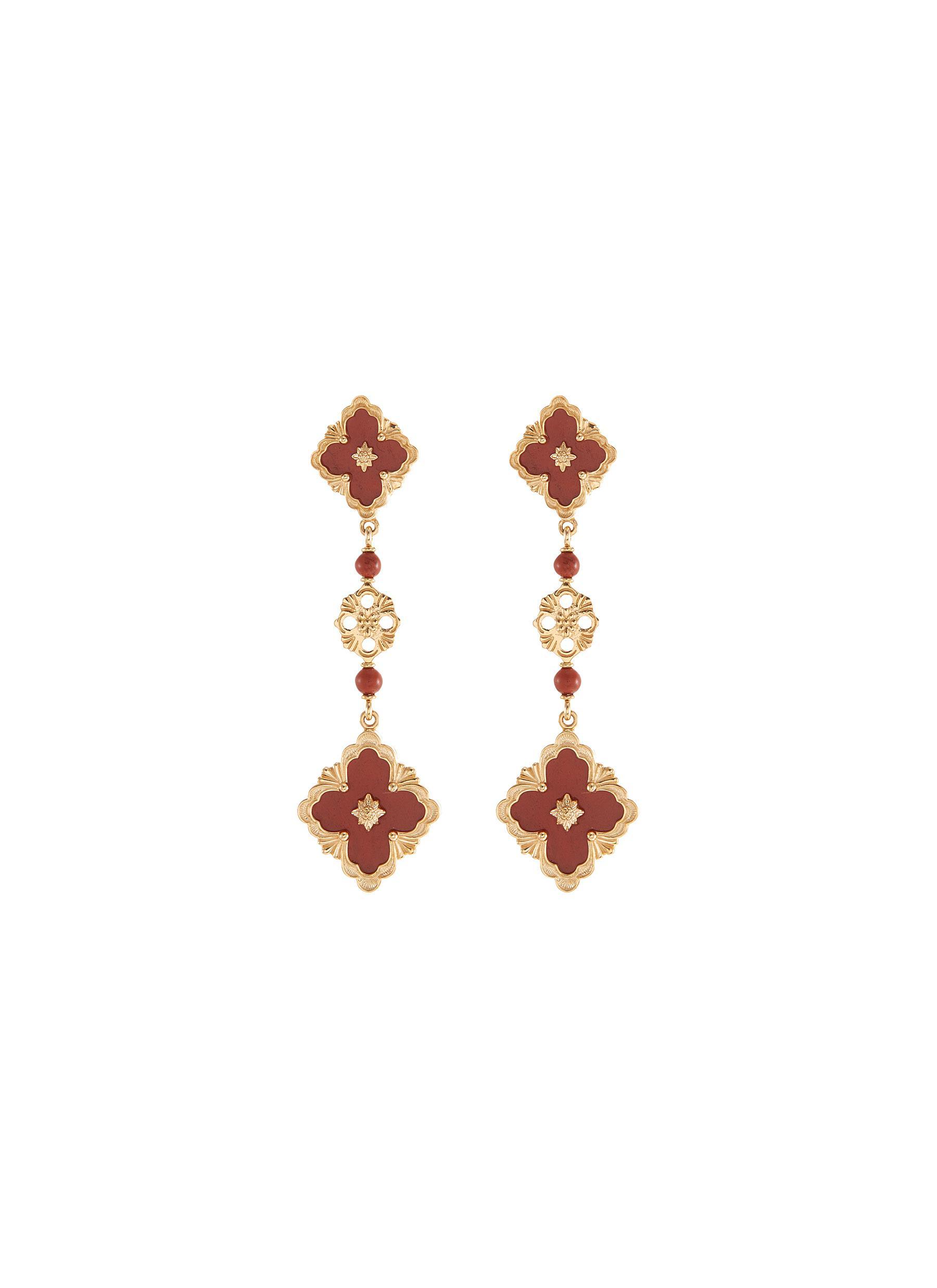 'Opera Color' jasper 18k yellow gold link drop earrings