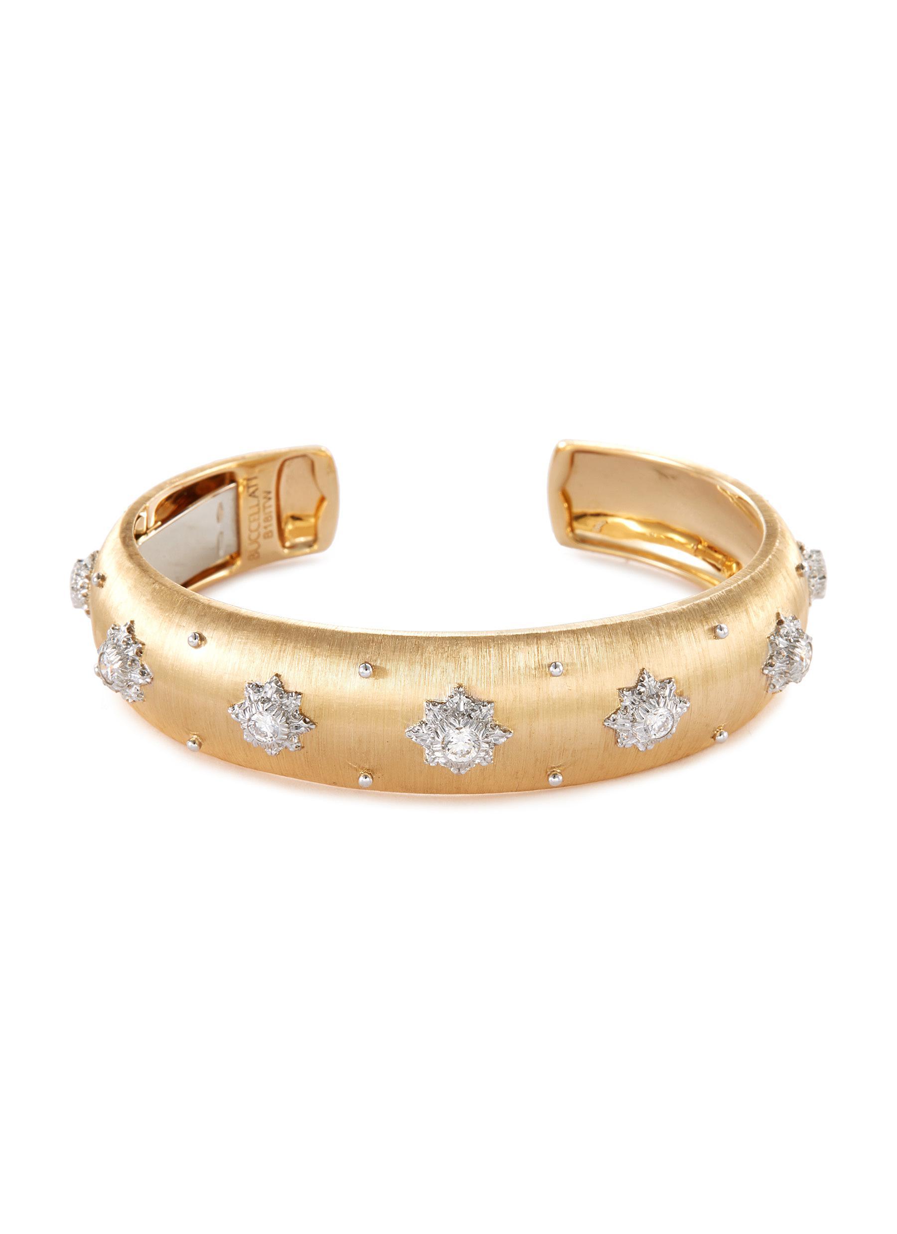 'Macri' diamond 18k yellow gold cuff