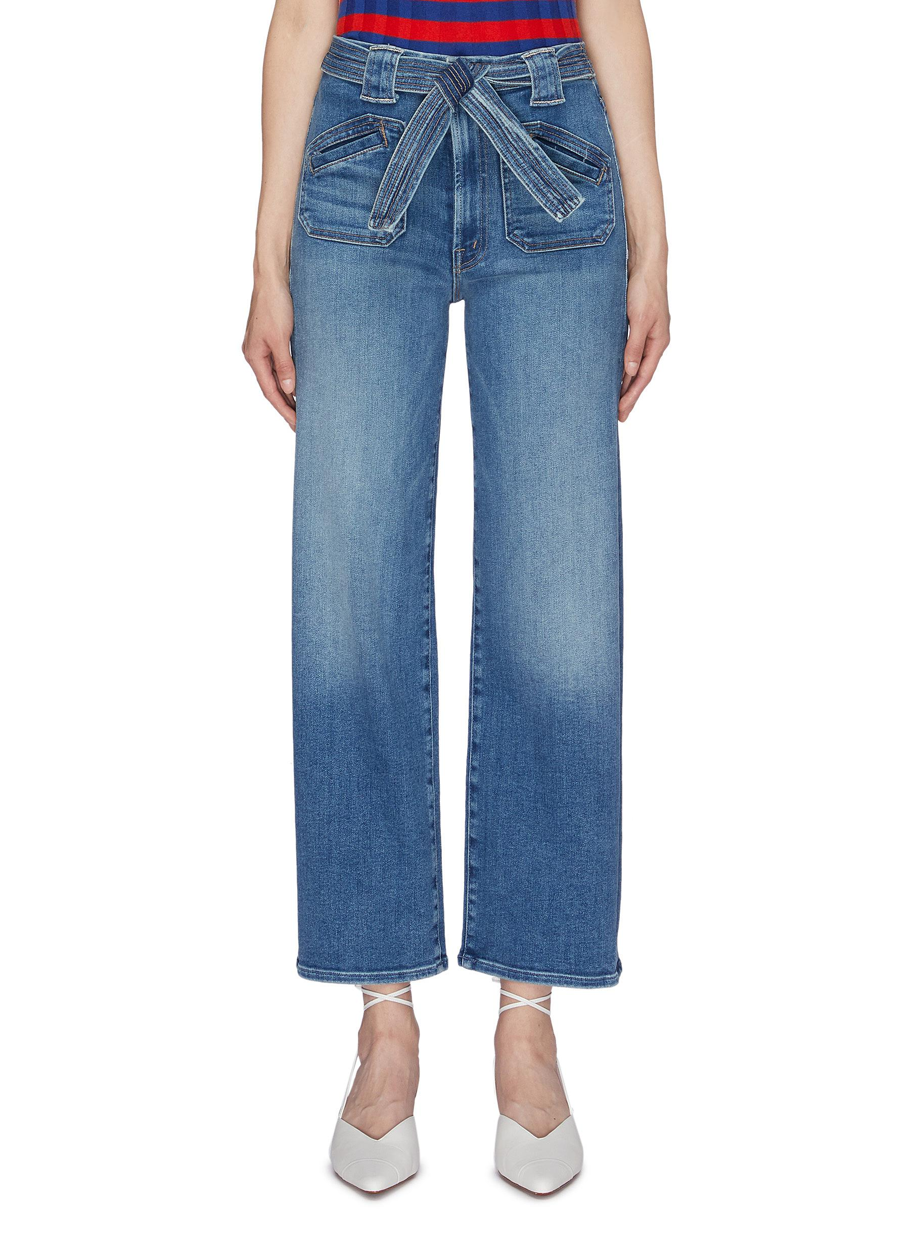 The Tie Patch Rambler belted wide leg jeans by Mother