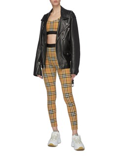Burberry Logo jacquard check plaid leggings