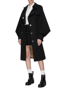 Burberry Cape sleeve snap button belted gabardine trench coat