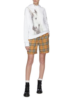 Burberry Stripe outseam drawstring check plaid shorts