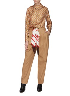 Burberry Silk scarf drawstring pleated tapered twill pants