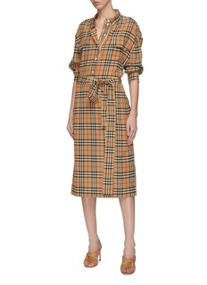 Burberry Belted flap pocket check plaid silk shirt dress