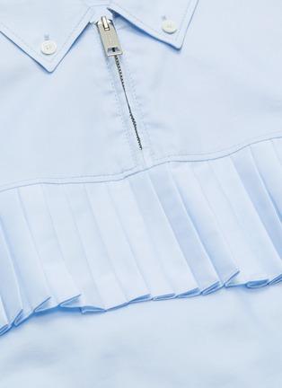 - BURBERRY - Pleated yoke half-zip short sleeve shirt