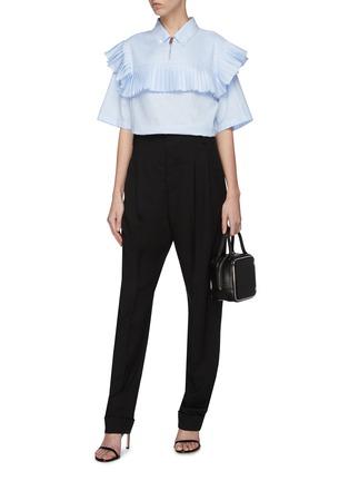 Figure View - Click To Enlarge - BURBERRY - Pleated yoke half-zip short sleeve shirt