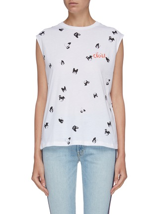Main View - Click To Enlarge - ÊTRE CÉCILE - 'Dogs All Over' graphic print boyfriend tank top