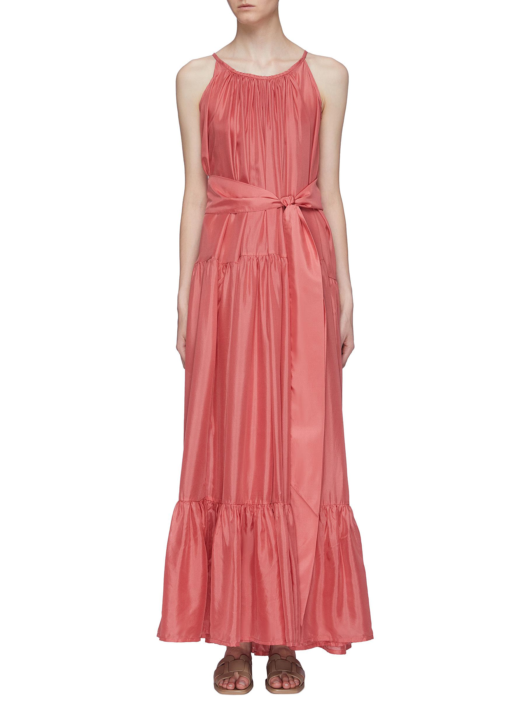 Genevieve belted ruched tiered maxi dress by Kalita