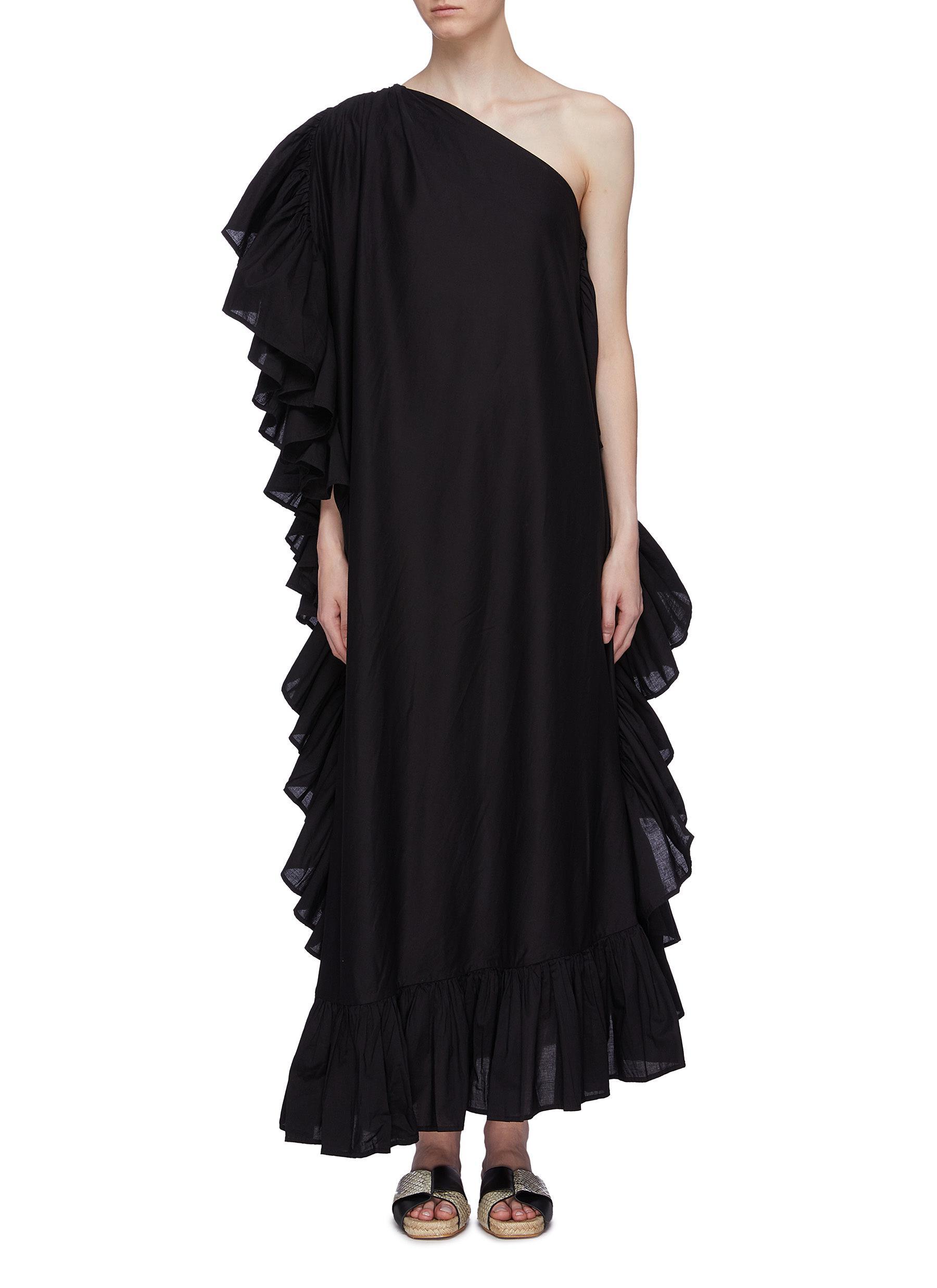 Zahara ruffle one-shoulder maxi dress by Kalita