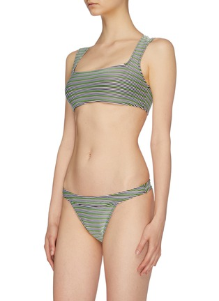 Front View - Click To Enlarge - SOLID & STRIPED - 'The Cleo' stripe ottoman knit bikini top