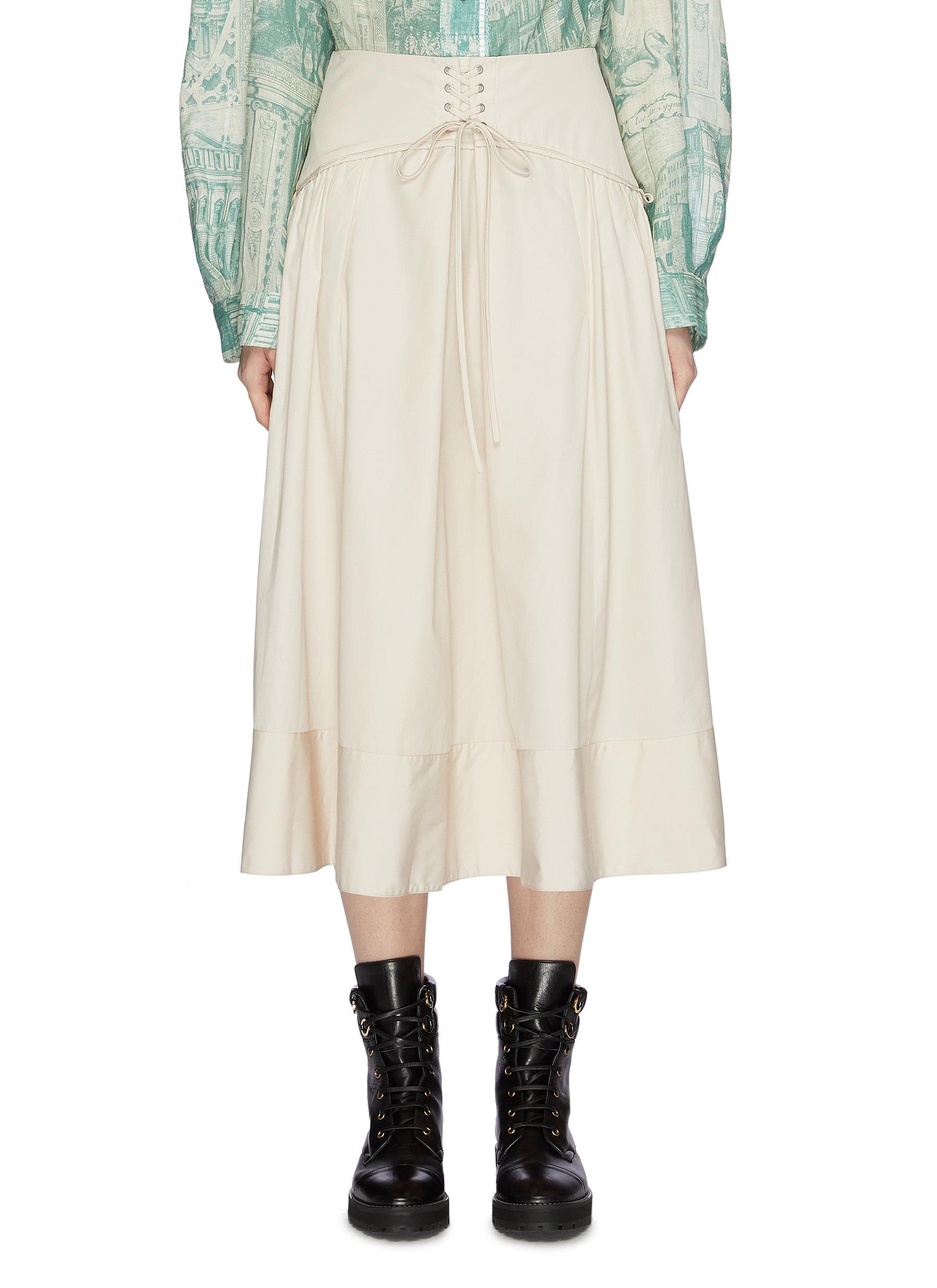 Lace-up corset waist flared poplin skirt by 3.1 Phillip Lim
