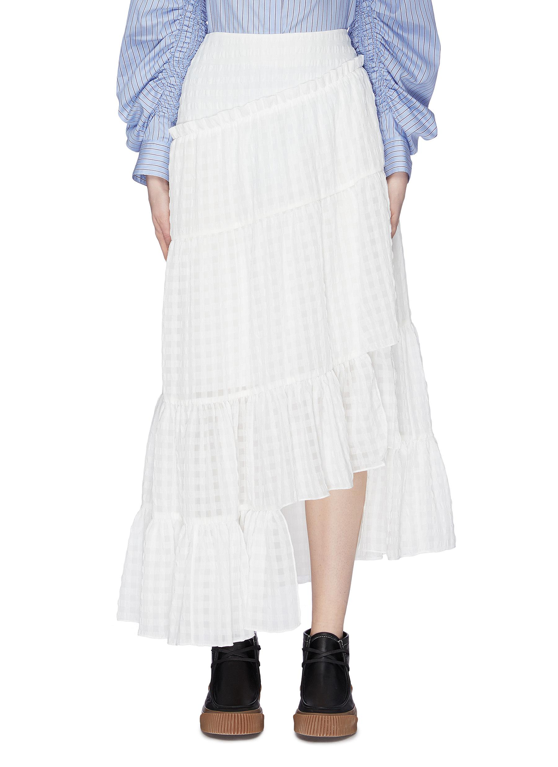 Asymmetric ruffle tiered check skirt by 3.1 Phillip Lim