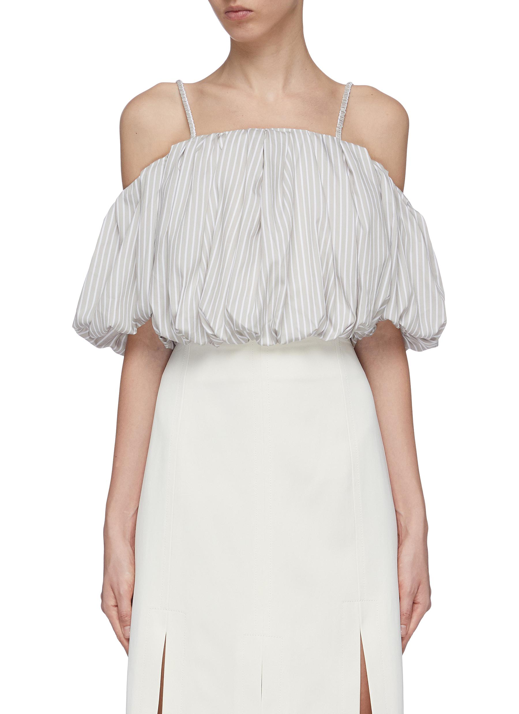 Puff sleeve cropped stripe off-shoulder top by 3.1 Phillip Lim