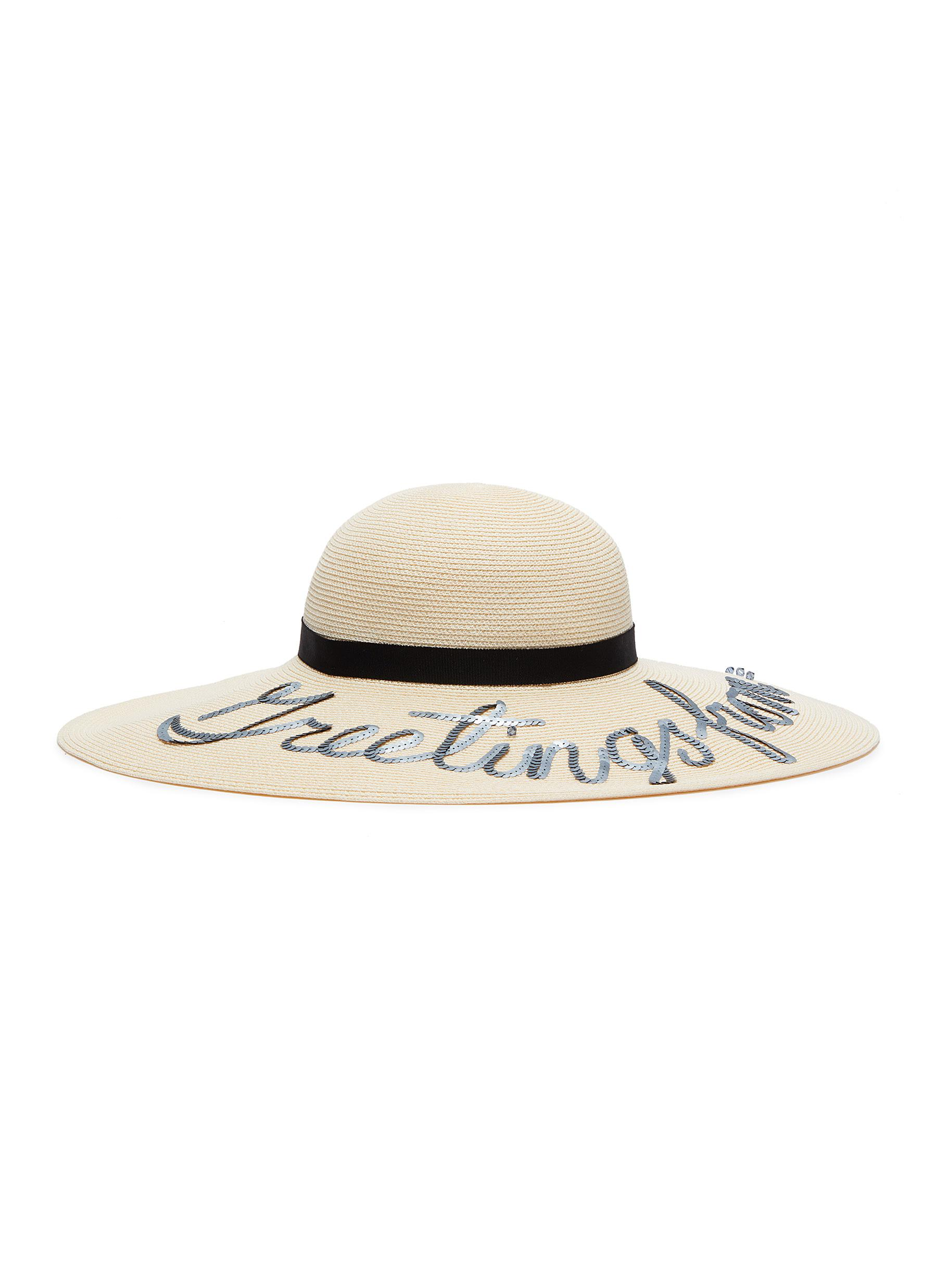 6e1c625a3 EUGENIA KIM | 'Bunny' sequin slogan Toyo straw hat | Women | Lane ...