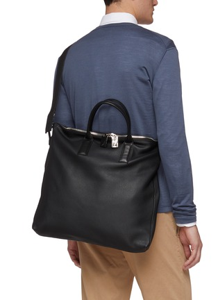 Front View - Click To Enlarge - A-ESQUE - 'Portfolio' grainy leather tote bag