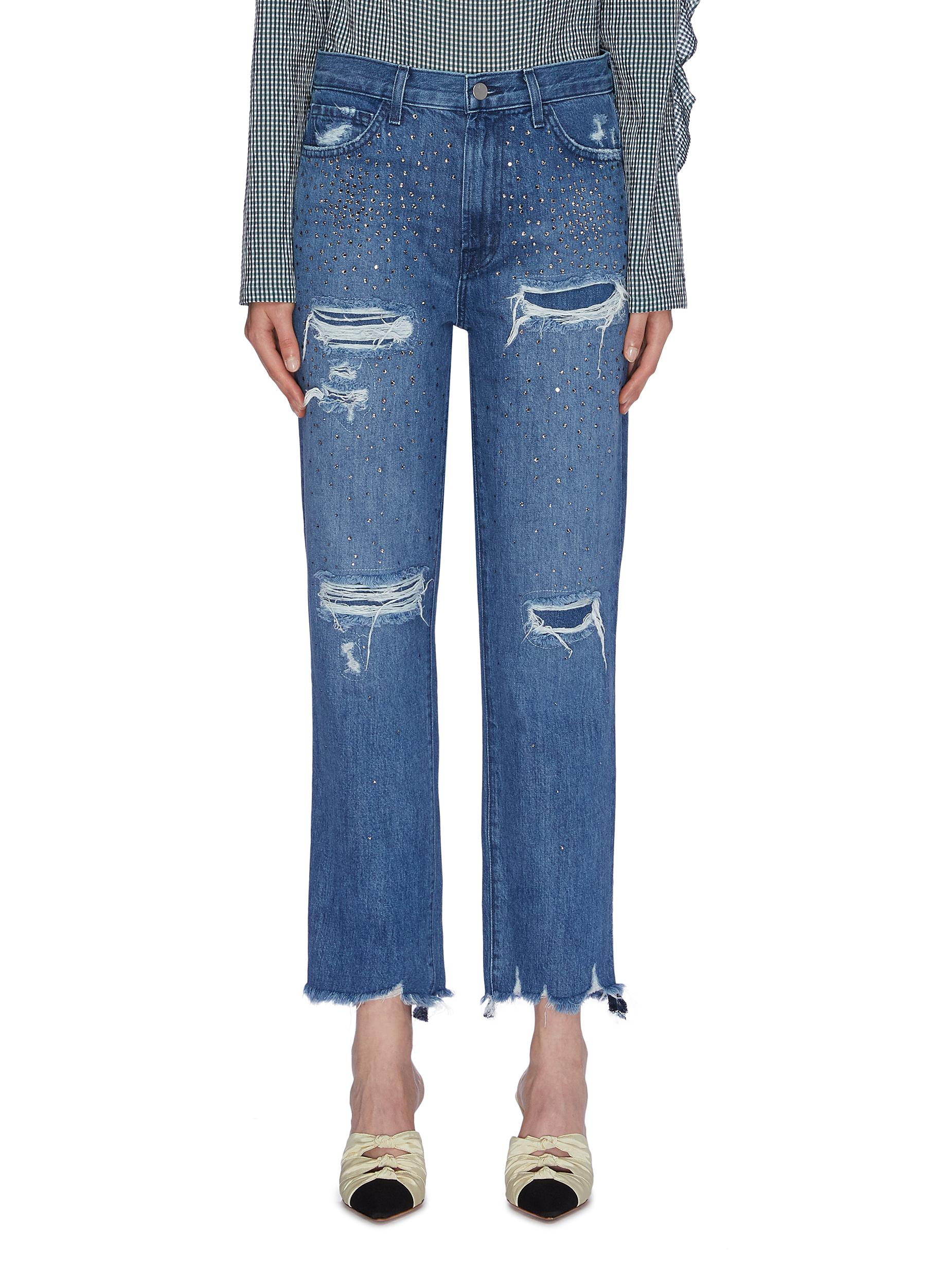 Jules strass ripped straight leg jeans by J Brand