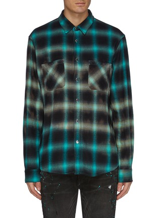 Main View - Click To Enlarge - AMIRI - Tie dye check plaid shirt