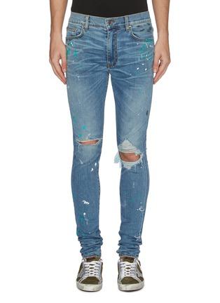 Main View - Click To Enlarge - AMIRI - 'Graffiti' paint splatter print ripped jeans
