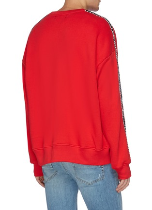 Back View - Click To Enlarge - Amiri - Dragon graphic embroidered stripe sleeve sweatshirt