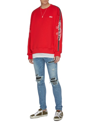 Figure View - Click To Enlarge - Amiri - Dragon graphic embroidered stripe sleeve sweatshirt