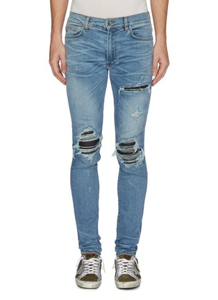 Main View - Click To Enlarge - AMIRI - 'MX1' pleated leather patch jeans