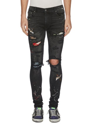 Main View - Click To Enlarge - AMIRI - 'Art Patch' colourblock ripped skinny jeans