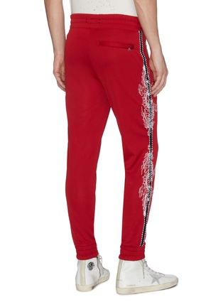 Back View - Click To Enlarge - AMIRI - Dragon graphic embroidered stripe outseam jogging pants