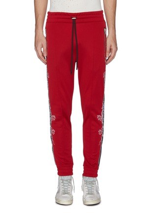 Main View - Click To Enlarge - AMIRI - Dragon graphic embroidered stripe outseam jogging pants