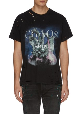 Main View - Click To Enlarge - AMIRI - 'City Dragon' graphic print distressed T-shirt