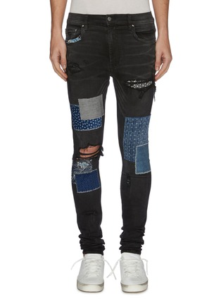 Main View - Click To Enlarge - AMIRI - Paint splatter print mix patch ripped jeans