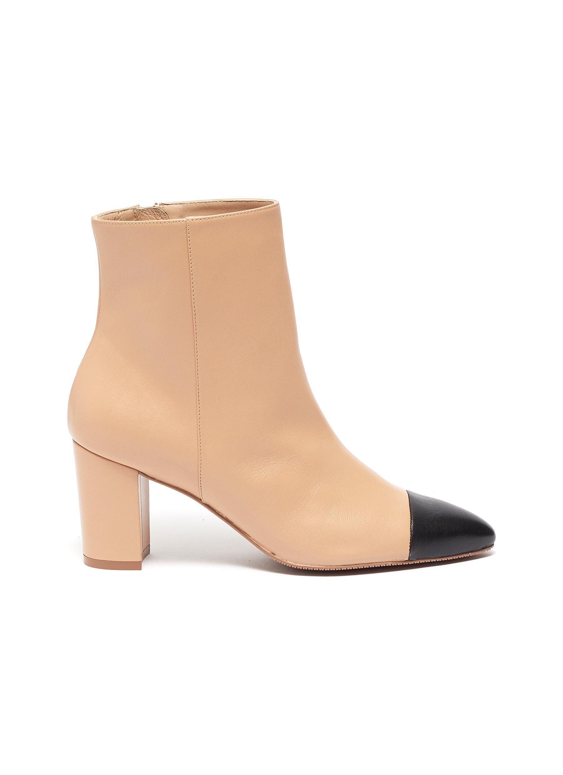Jill contrast toe leather ankle boots by Stuart Weitzman
