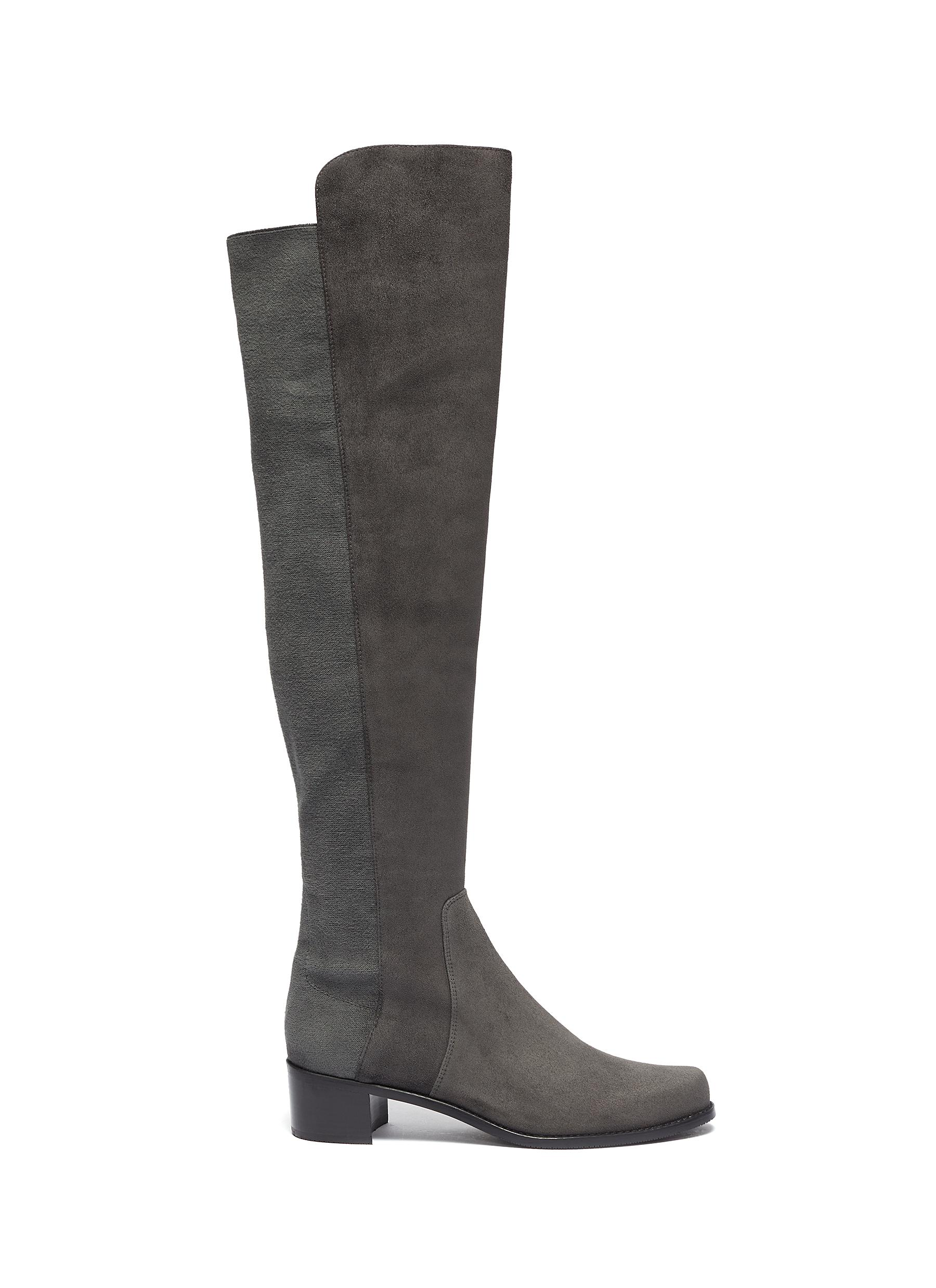 Reserve panelled stretch suede knee high boots by Stuart Weitzman