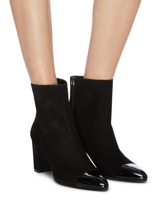 Stuart Weitzman Jill Contrast Toe Suede Ankle Boots