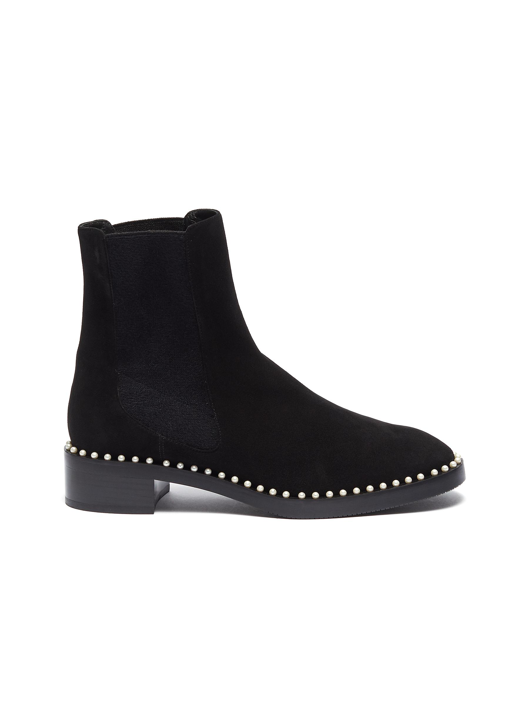 Cline faux pearl welt suede Chelsea boots by Stuart Weitzman