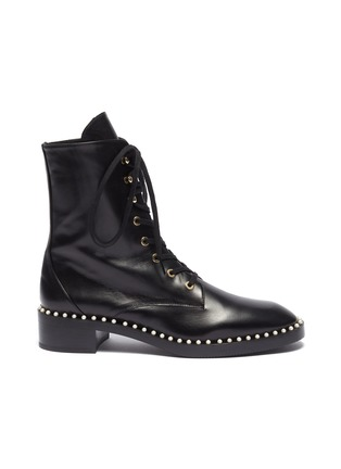 Main View - Click To Enlarge - STUART WEITZMAN - 'Sondra' faux pearl leather combat boots