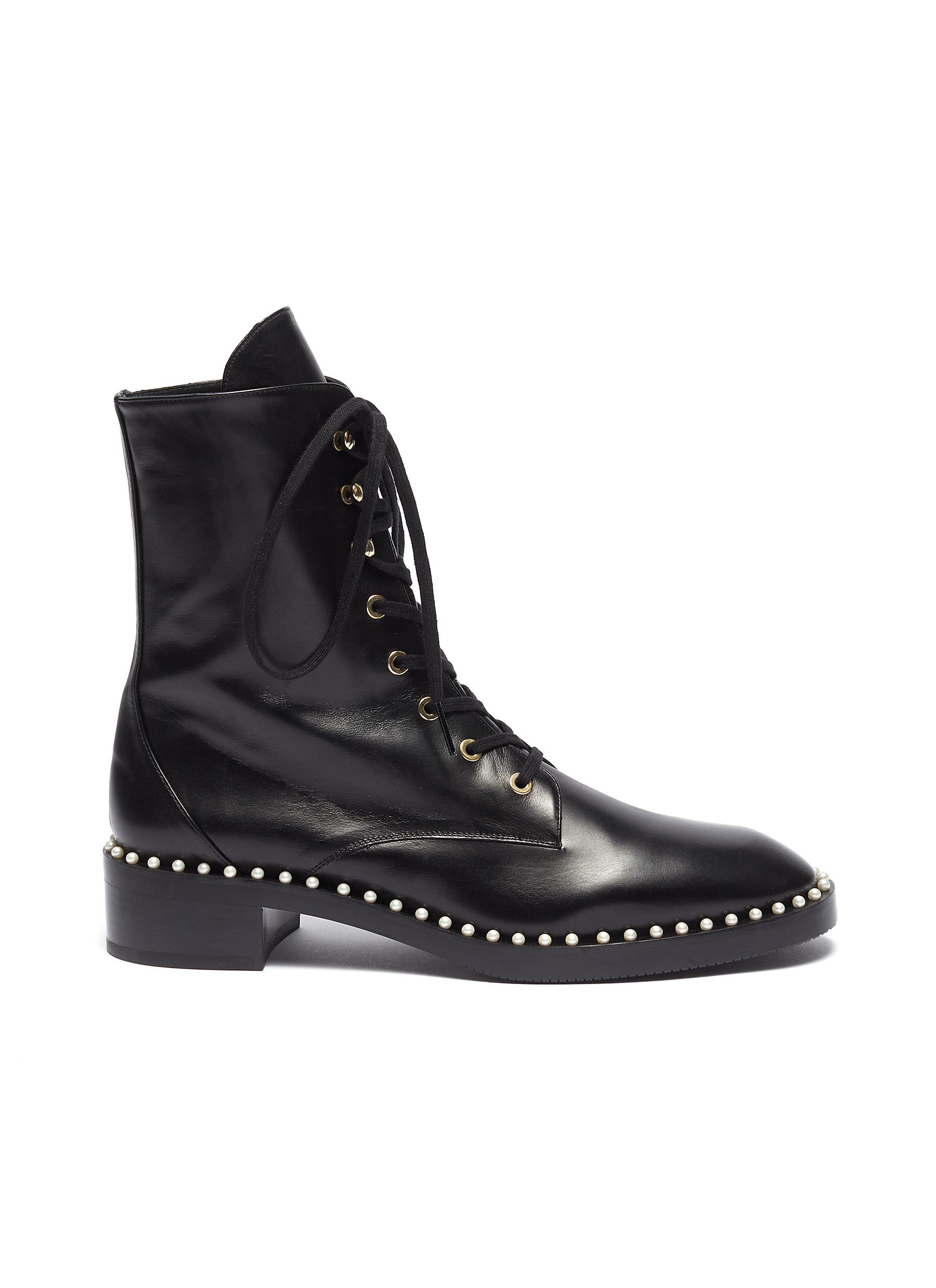 Sondra faux pearl leather combat boots by Stuart Weitzman