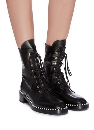 Figure View - Click To Enlarge - STUART WEITZMAN - 'Sondra' faux pearl leather combat boots