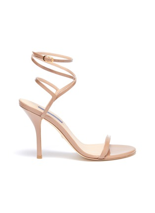 Main View - Click To Enlarge - STUART WEITZMAN - 'Merinda' crisscross ankle strap patent leather sandals