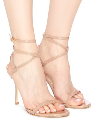 Figure View - Click To Enlarge - STUART WEITZMAN - 'Merinda' crisscross ankle strap patent leather sandals