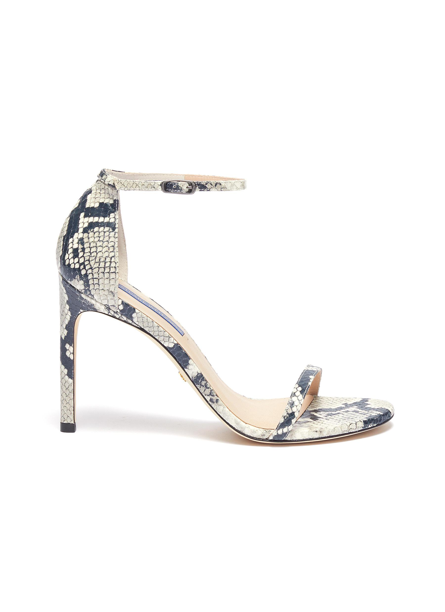 Nudistsong ankle strap snake embossed leather sandals by Stuart Weitzman