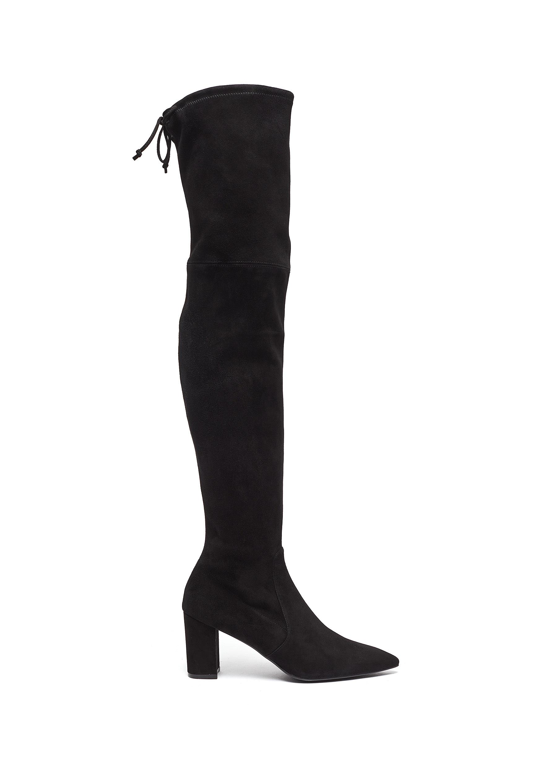 Lesley stretch suede thigh high boots by Stuart Weitzman
