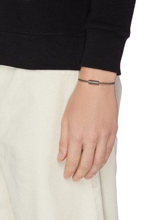 Figure View - Click To Enlarge - LE GRAMME - 'Le 9 Grammes' brushed black sterling silver cable bracelet