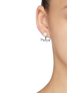 HEFANG 'Flags' detachable drop shell pearl stud earrings