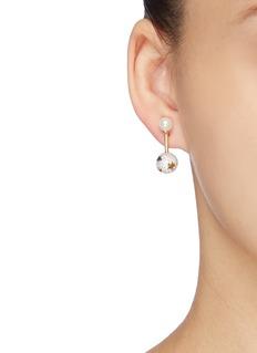 HEFANG 'Magical Circus' shell pearl stud cubic zirconia ball drop earrings