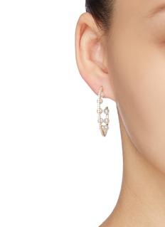 HEFANG 'Fancy Circus' cubic zirconia shell pearl hoop earrings