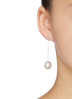 HEFANG 'Little Ball' cubic zirconia shell pearl drop earrings